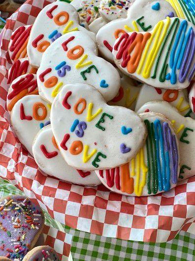 A basket of rainbow cookies.