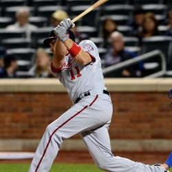 Washington Nationals' Ryan Zimmerman hits a two-run home run in the third inning of a baseball game against the New York Mets in New York, Monday, Sept. 10, 2012.