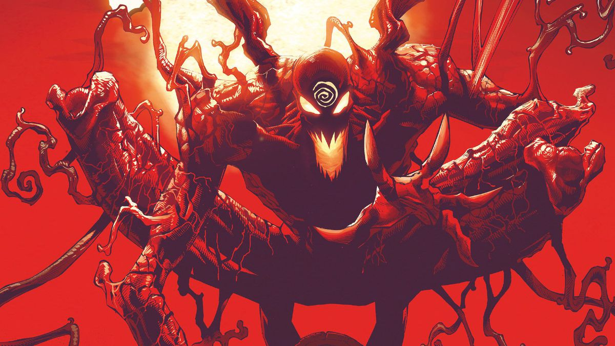 Carnage squats on a tombstone in a graveyard full of skulls. His perch and the other tombstones in view have the names of prominent Marvel Comics characters on them. From the cover of Absolute Carnage #1, Marvel Comics (2019).