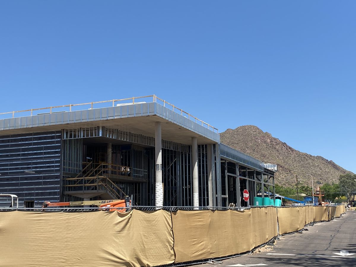 Phoenix Suns practice facility with Camelback Mountain in the distancec