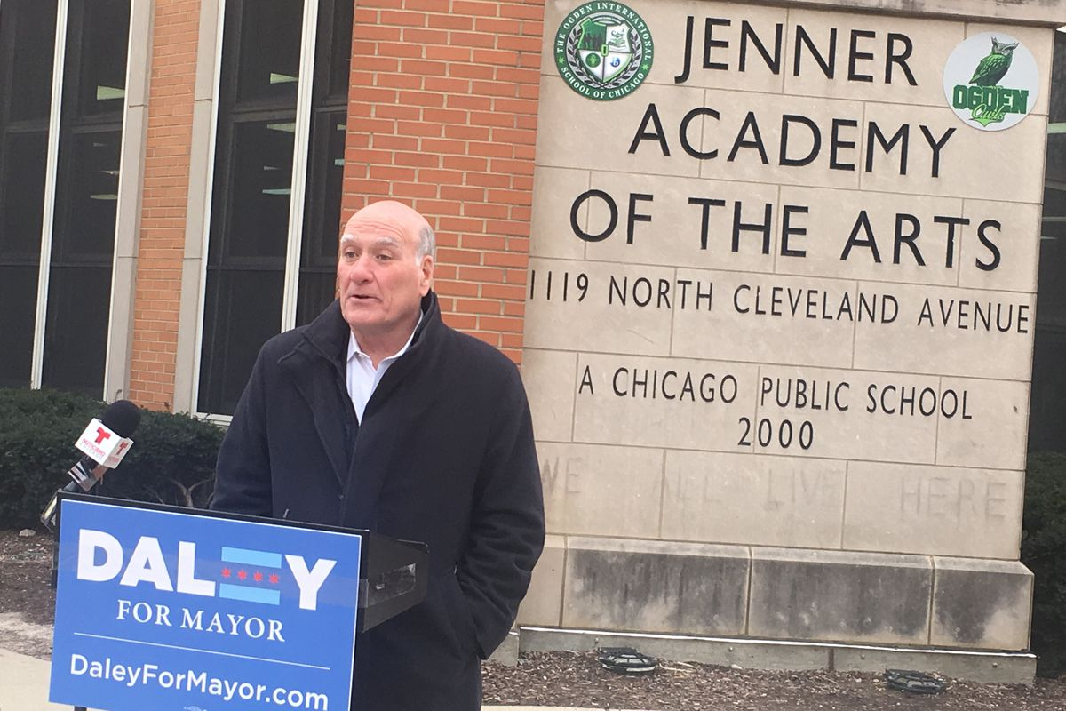 """Bill Daley spoke outside Jenner School on Jan. 10 about his plan for """"Neighborhood School Councils,"""" which would replace the current system of Local School Councils."""