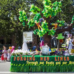 The South Jordan Utah River Ridge Stake float is pictured during the Days of '47 Union Pacific Railroad Youth Parade held Saturday, July 18, 2015, in Salt Lake City.