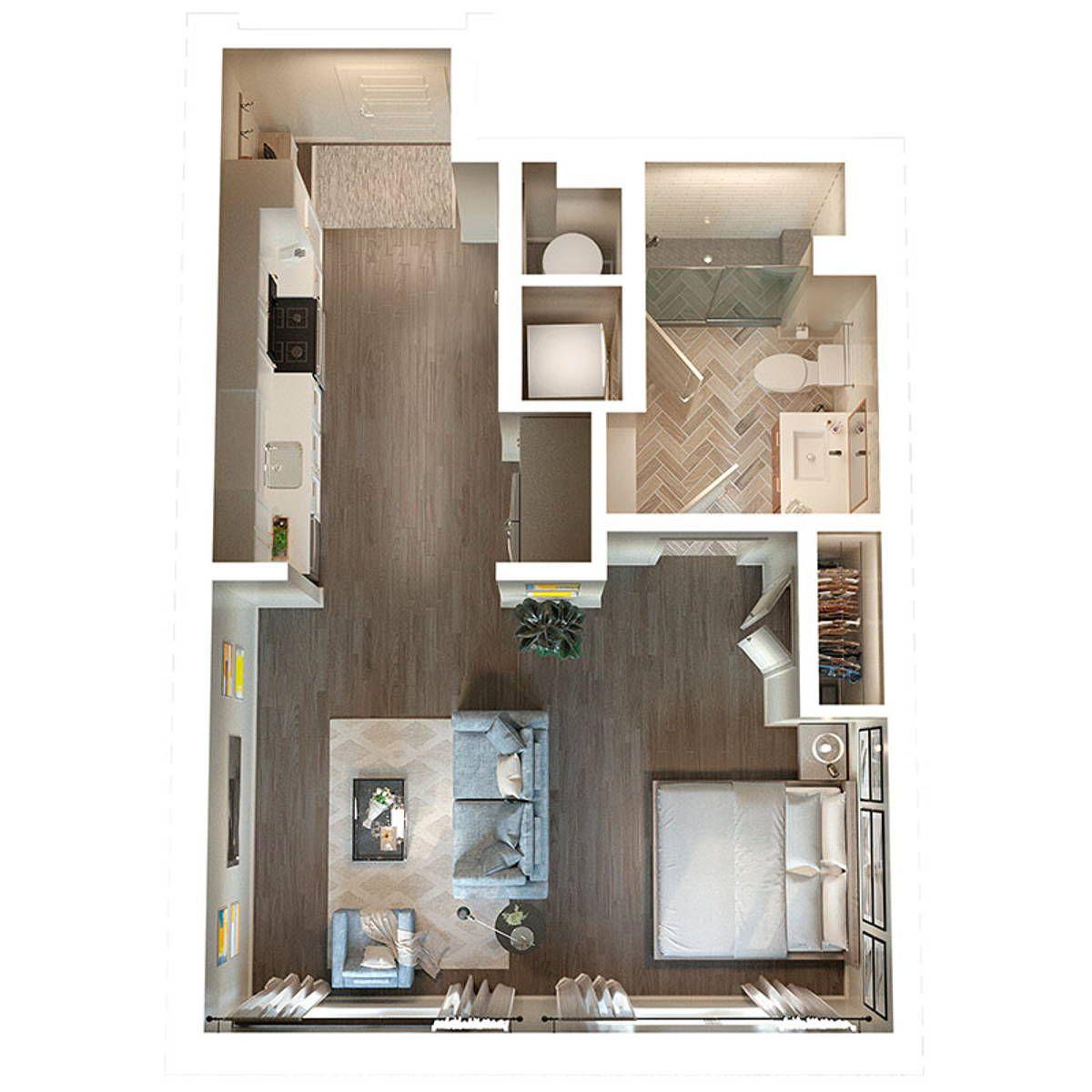 A studio apartment floorplan.