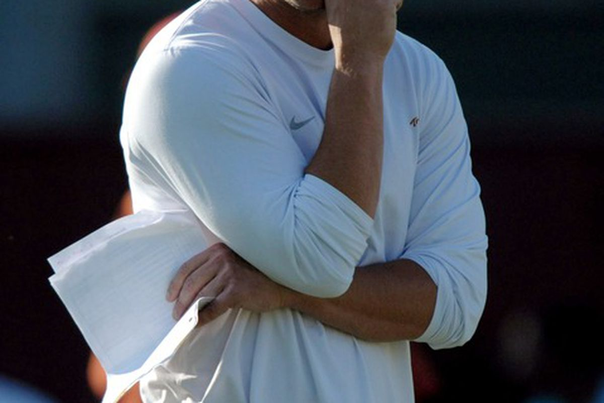 Mar 22, 2012; Los Angeles, CA, USA; Southern California Trojans coach Lane Kiffin reacts at spring practice at Howard Jones Field. Mandatory Credit: Kirby Lee/Image of Sport-US PRESSWIRE