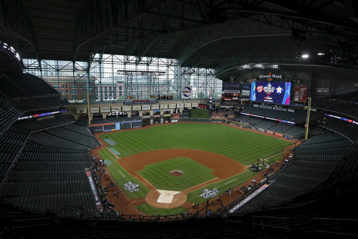 A general view of the stadium before Game Seven of the 2019 World Series between the Houston Astros and the Washington Nationals at Minute Maid Park on October 30, 2019 in Houston, Texas.