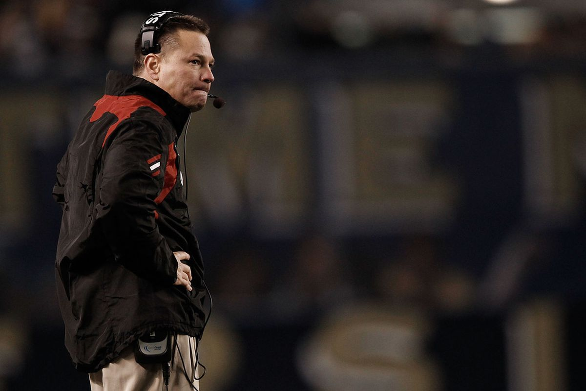 PITTSBURGH, PA - NOVEMBER 05:  Head coach Butch Jones of the Cincinnati Bearcats watches his team play against the Pittsburgh Panthers on November 5, 2011 at Heinz Field in Pittsburgh, Pennsylvania.  (Photo by Jared Wickerham/Getty Images)