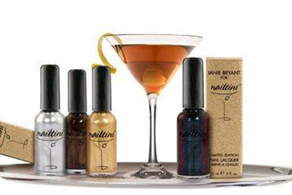 """Oh Mad Men, what hath thou wrought? Nailtinis from Janie Bryant's QVC collection. Image via <a href=""""http://www.stylelist.com/2010/09/14/janie-bryant-mod-qvc-nailtini-nail-polish/"""">StyleList</a>"""