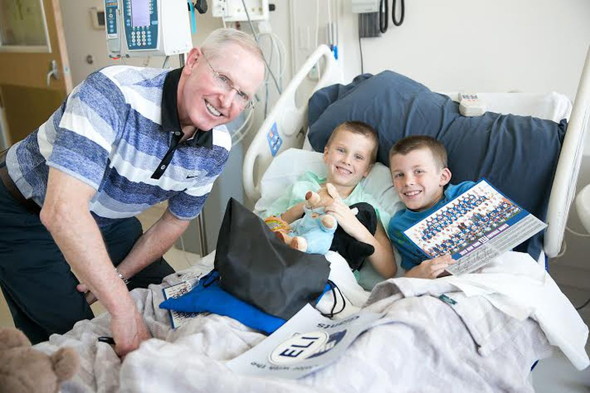 Giants coach Tom Coughlin during a hospital visit