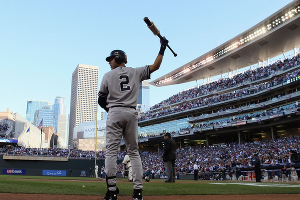 MINNEAPOLIS - OCTOBER 07:  Derek Jeter #2 of the New York Yankees waits on deck in the first innning against the Minnesota Twins during game two of the ALDS on October 7 2010 at Target Field in Minneapolis Minnesota.  (Photo by Elsa/Getty Images)