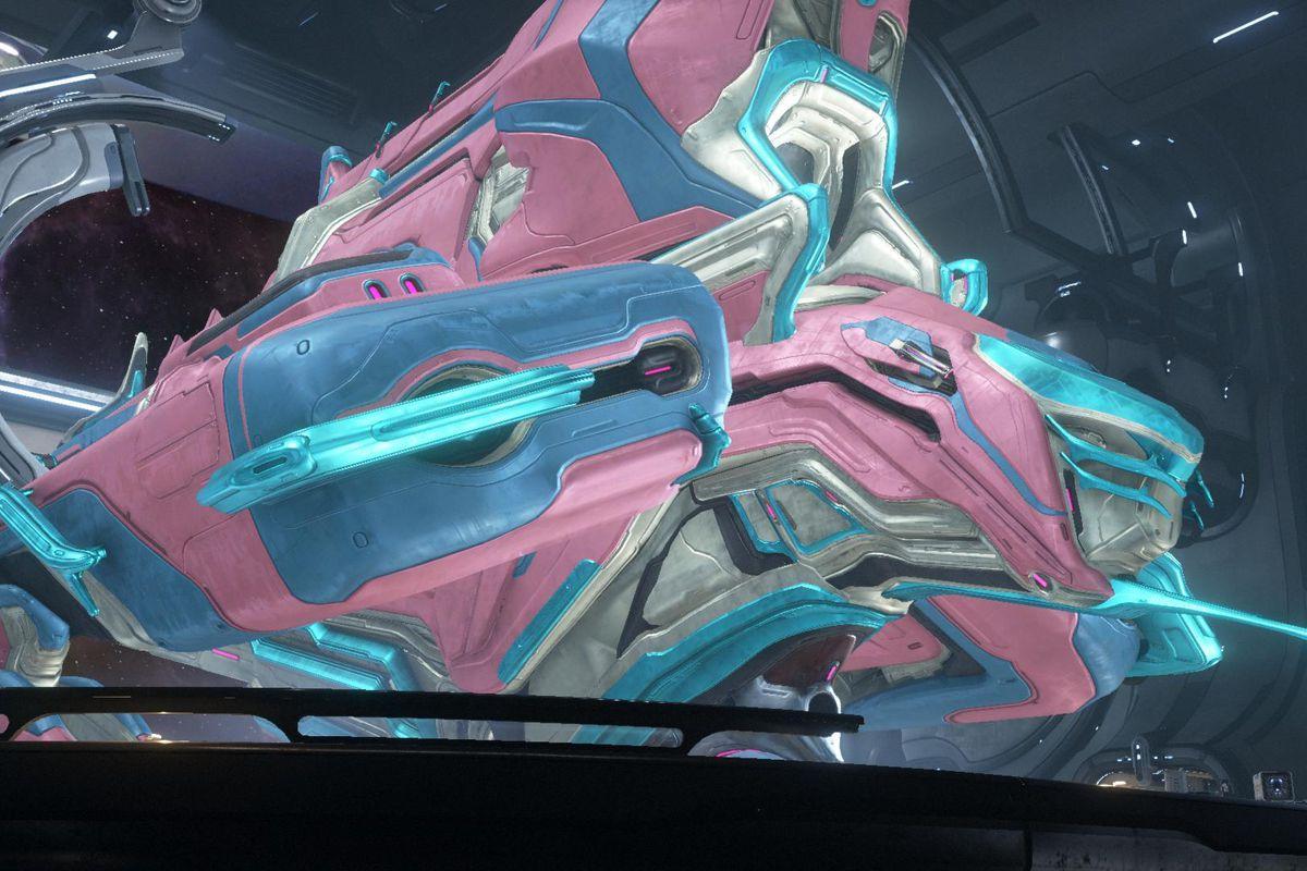 Warframe - an exterior shot of a player's customized Railjack spaceship