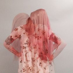 Kimi's hair with a fresh coat of pink paint on it.