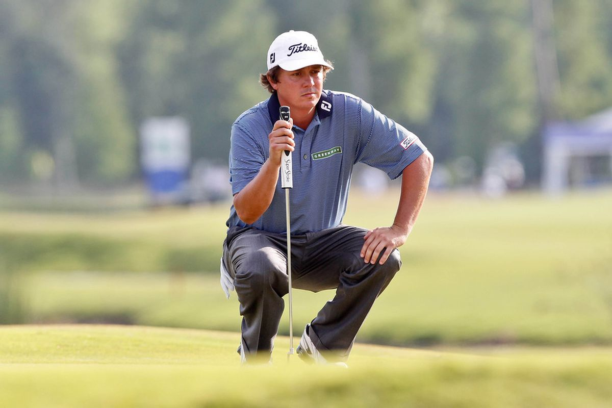 Apr 29, 2012; Avondale, LA, USA; Jason Dufner on the first playoff at the18th hole during the final round of the Zurich Classic of New Orleans at TPC Louisiana. Mandatory Credit: Derick E. Hingle-US PRESSWIRE