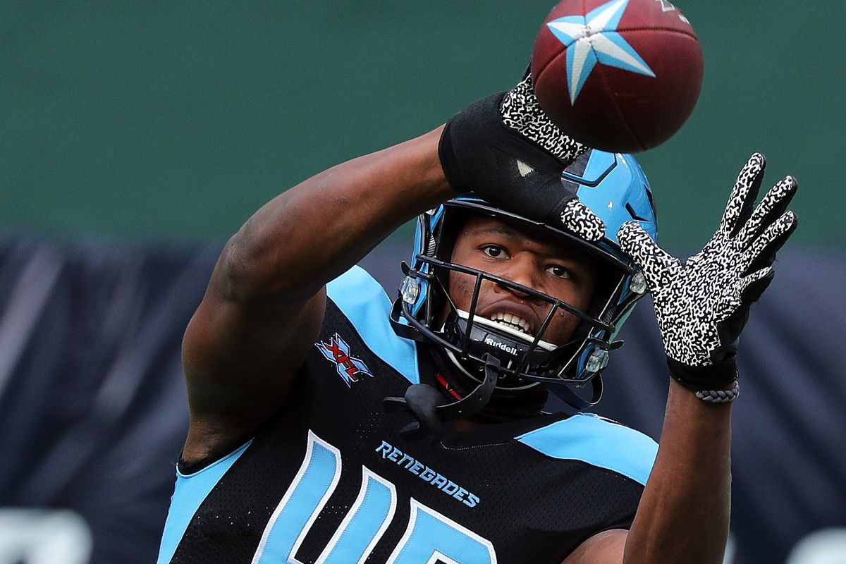 Donald Parham #49 of the Dallas Renegades catches a pass during warm ups before an XFL football game against the New York Guardians on March 07, 2020 in Arlington, Texas.
