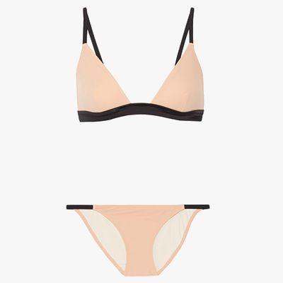 Light pink bikini with black edging.
