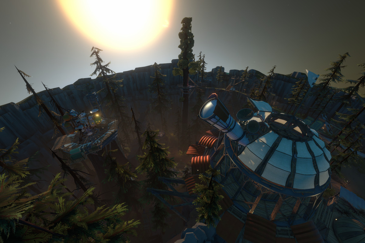 An observatory looms over starting village in Outer Wilds.