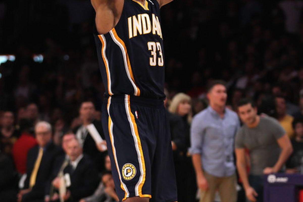 Danny Grangers exhales and enjoys the moment after the Pacers closed out the Lakers last night.