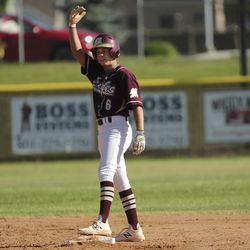Maple Mountain's Nolan Bird gets double against Cottonwood during Last Chance Tournament in Spanish Fork on Thursday, May 28, 2020.