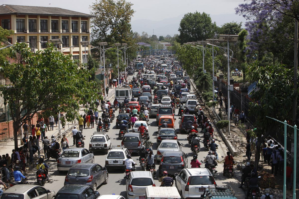 <small><strong>Traffic grinds to a halt after an earthquake hit Nepal in Kathmandu, Nepal, Tuesday, May 12, 2015.   Bikram Rai / AP</strong></small>