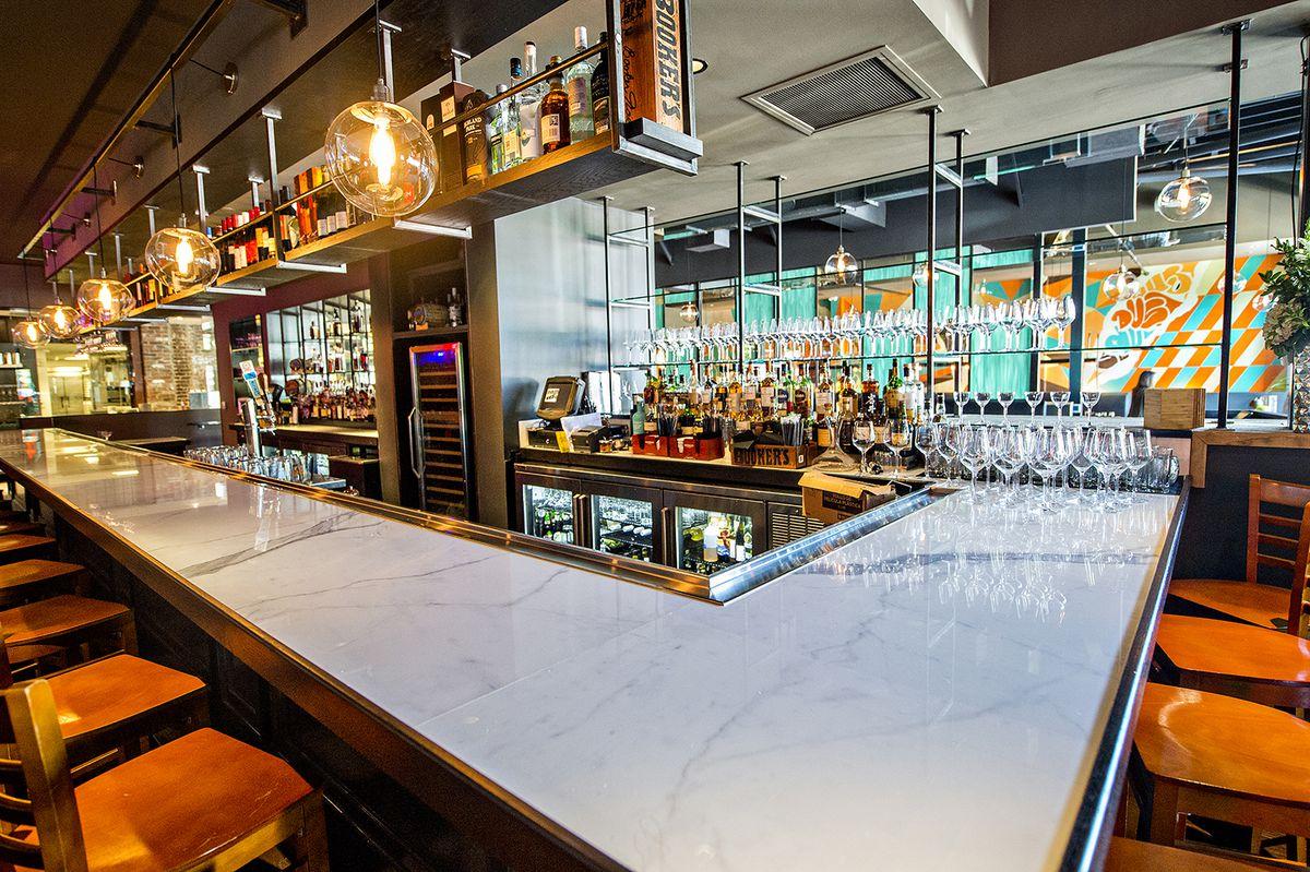 The bar inside Double Zero.