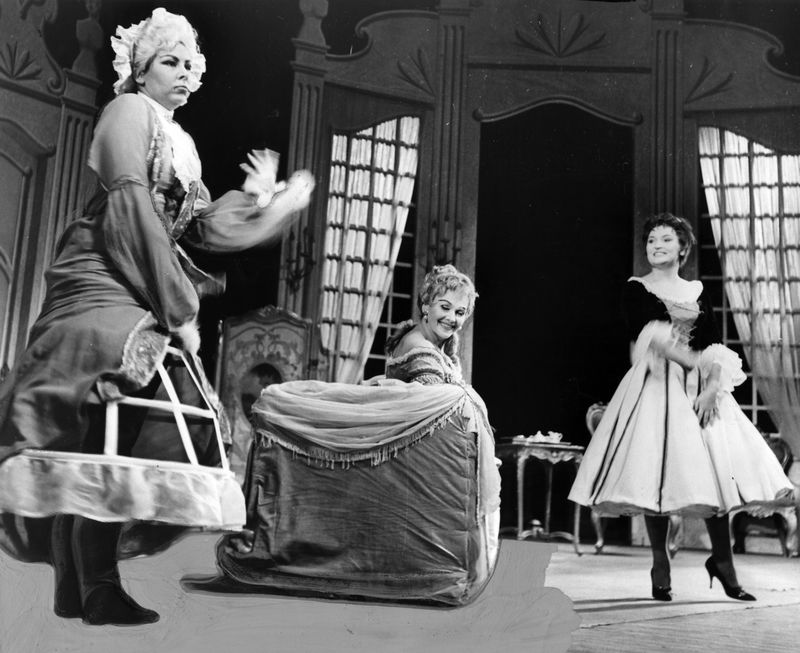 """This scene from Lyric Opera's 1960 production of Mozart's comic opera, """"The Marriage of Figaro,"""" under the musical direction of Josef Krips, features Christa Ludwig (from left), Elisabeth Schwarzkopf and Rita Streich."""