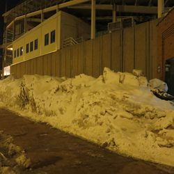 Snow piled up on Sheffield outside Gate R