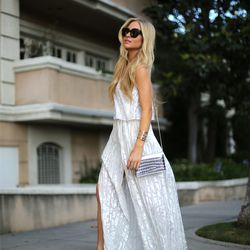 """Sophie of <a href=""""http://angelfoodstyle.com""""target=""""_blank"""">Angel Food Style</a> is wearing a VLabel London dress, <a href=""""http://www.intermixonline.com/product/aquazzura+pvc-metallic-leather+pump.do?sortby=ourPicks&CurrentCat=106370&utm_source=4441350&"""