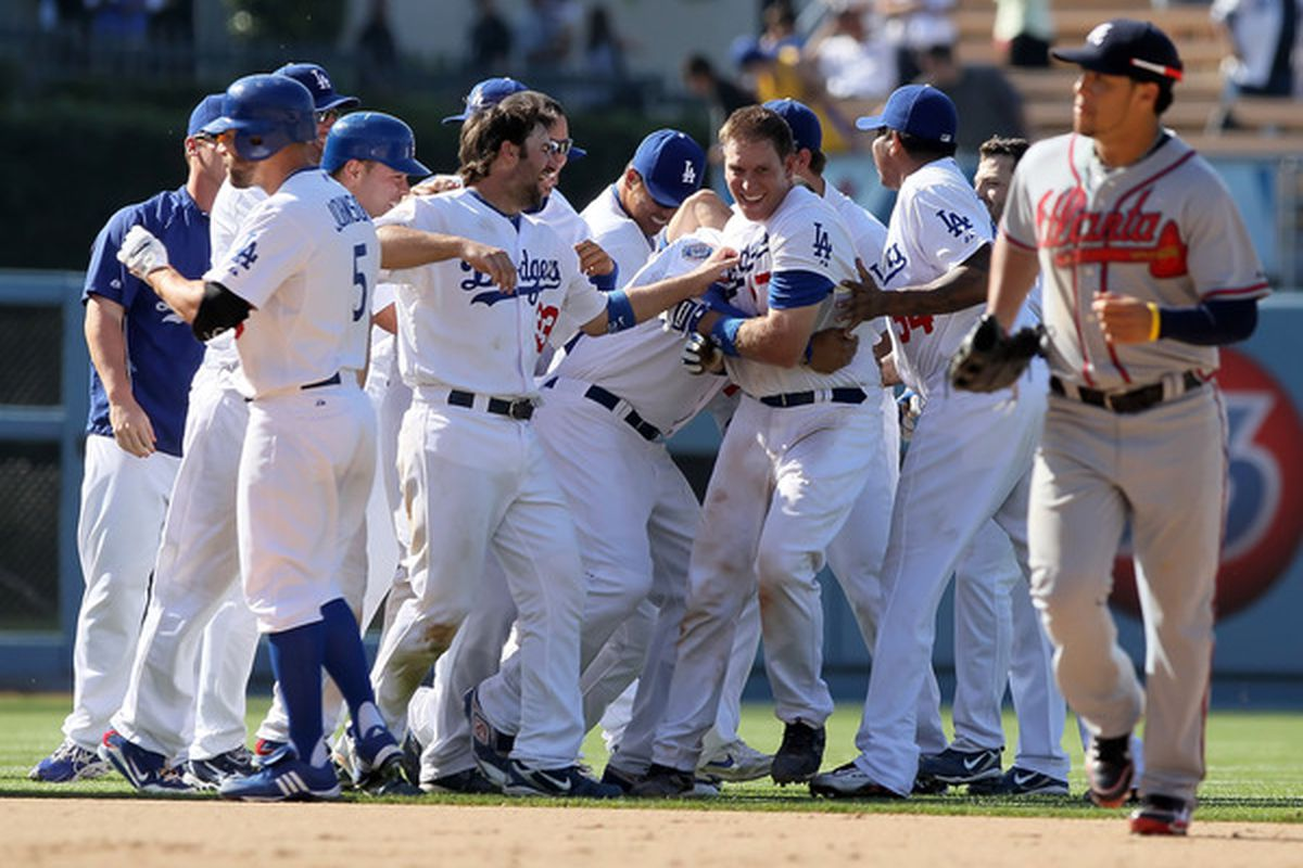 The Dodgers got to celebrate in dramatic fashion like this four different times this week.