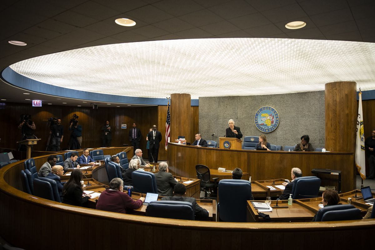 Cook County Board President Toni Preckwinkle speaks during a special board of commissioners meeting to consider a resolution extending the March 10, 2020 Proclamation of Disaster through May 31, Monday morning, March 16, 2020.