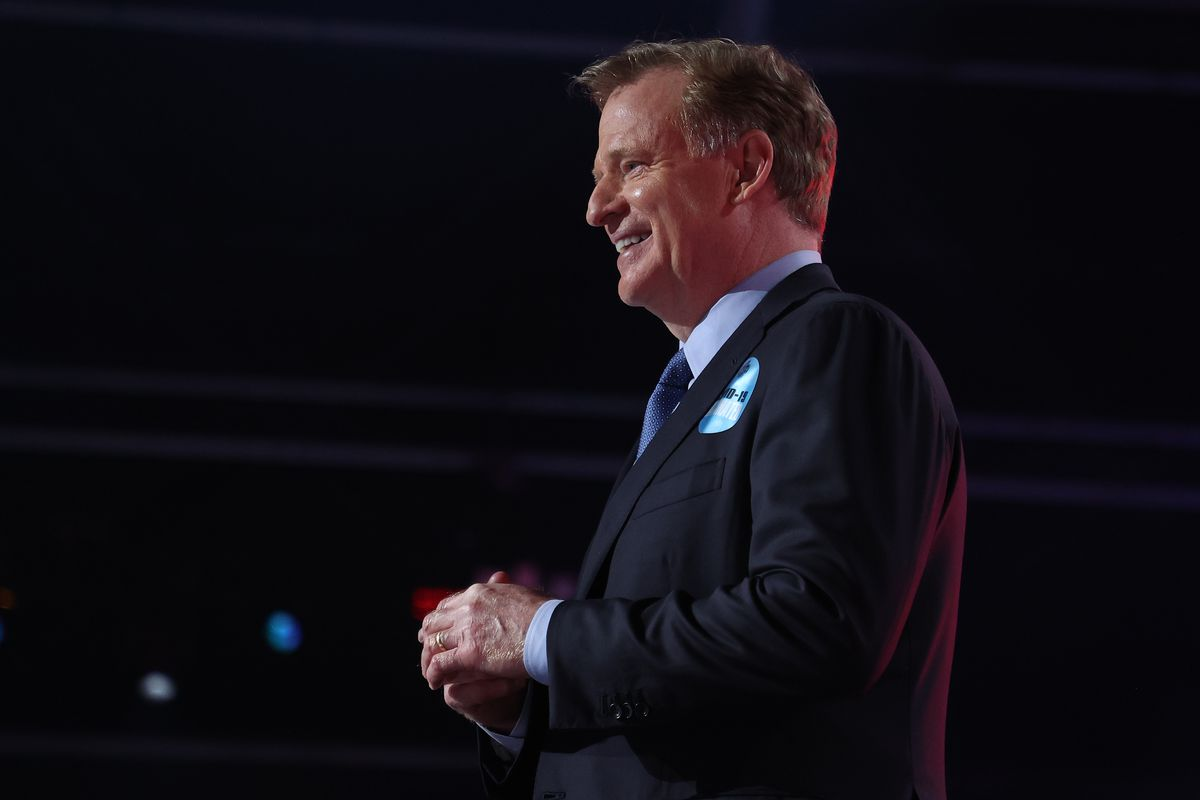 NFL Commissioner Roger Goodell stands onstage during round one of the 2021 NFL Draft at the Great Lakes Science Center on April 29, 2021 in Cleveland, Ohio.