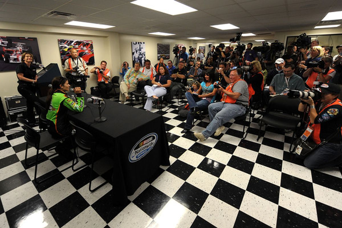 LOUDON, NH - JUNE 25:  Danica Patrick, driver of the #7 GoDaddy.com Chevrolet, speaks to the media during a press conference at New Hampshire Motor Speedway on June 25, 2010 in Loudon, New Hampshire.  (Photo by Drew Hallowell/Getty Images for NASCAR)