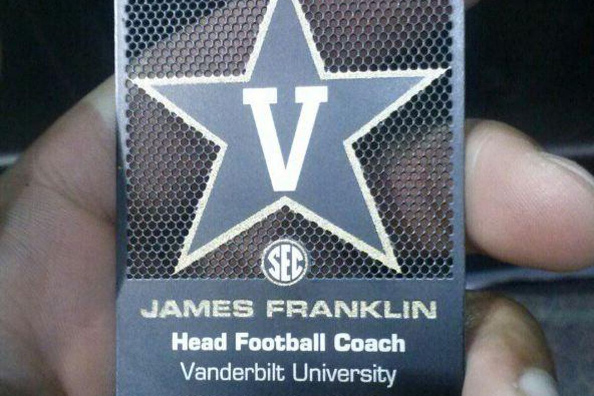 Vanderbilt coach james franklins business card is cool as far as i can only think of one reason a college football coach would need a business card to have a business card cool enough that a recruit will say hey colourmoves