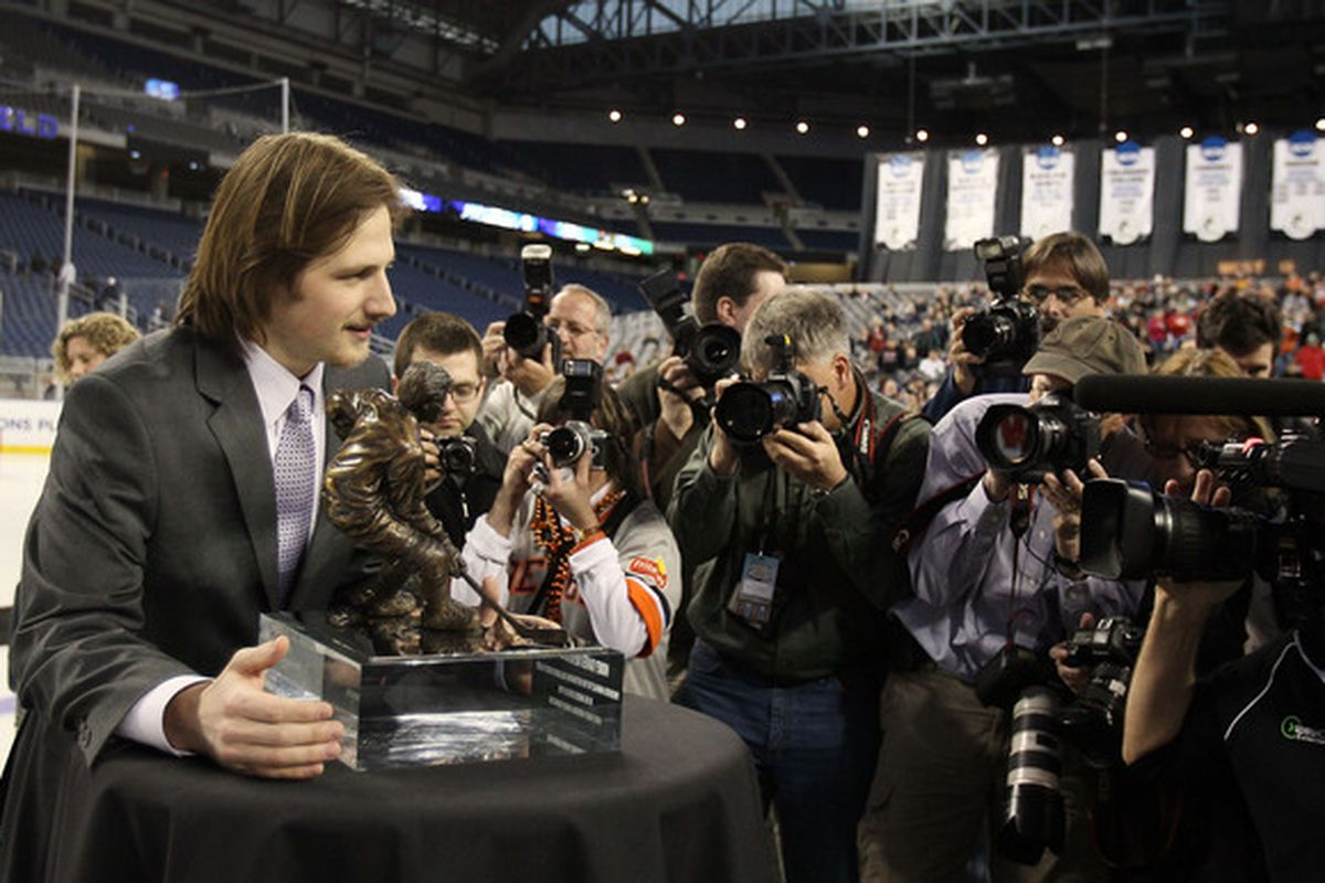 DETROIT - APRIL 09:  Blake Geoffrion of Wisconsin poses with the Hobey Baker Award on April 9, 2010 during the Hobey Baker Award Ceremony at Ford Field in Detroit, Michigan.  (Photo by Elsa/Getty Images)
