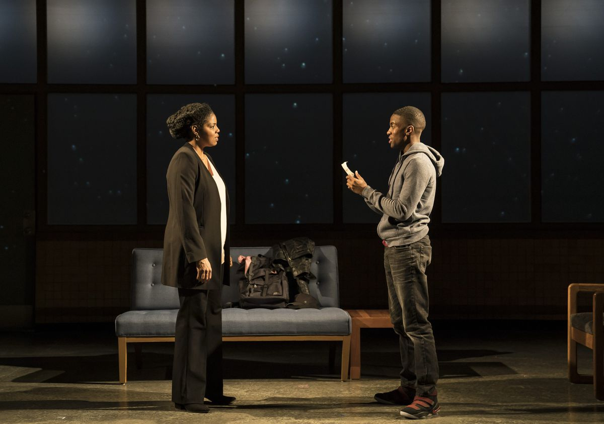 """Tyla Abercrumbie as Nya and Matthew Elam as Omari in a scene from """"Pipeline"""" at Victory Gardens Theater. 