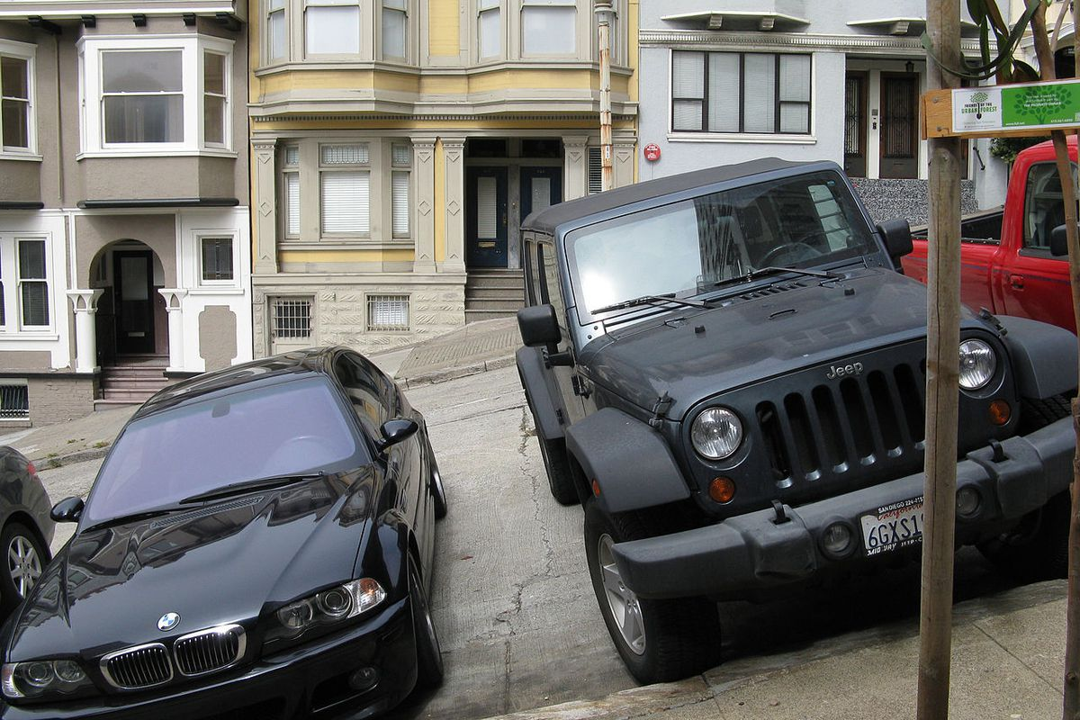 Cars parked on a hill in San Francisco.