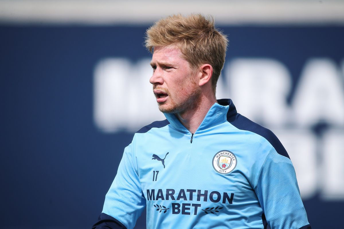 Kevin de Bruyne of Manchester City in action during a training session at Manchester City Football Academy on July 14.