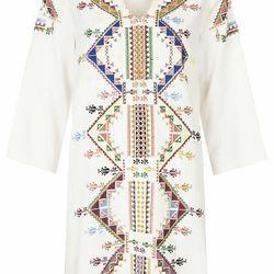 EMBROIDERED SMOCK DRESS, $150
