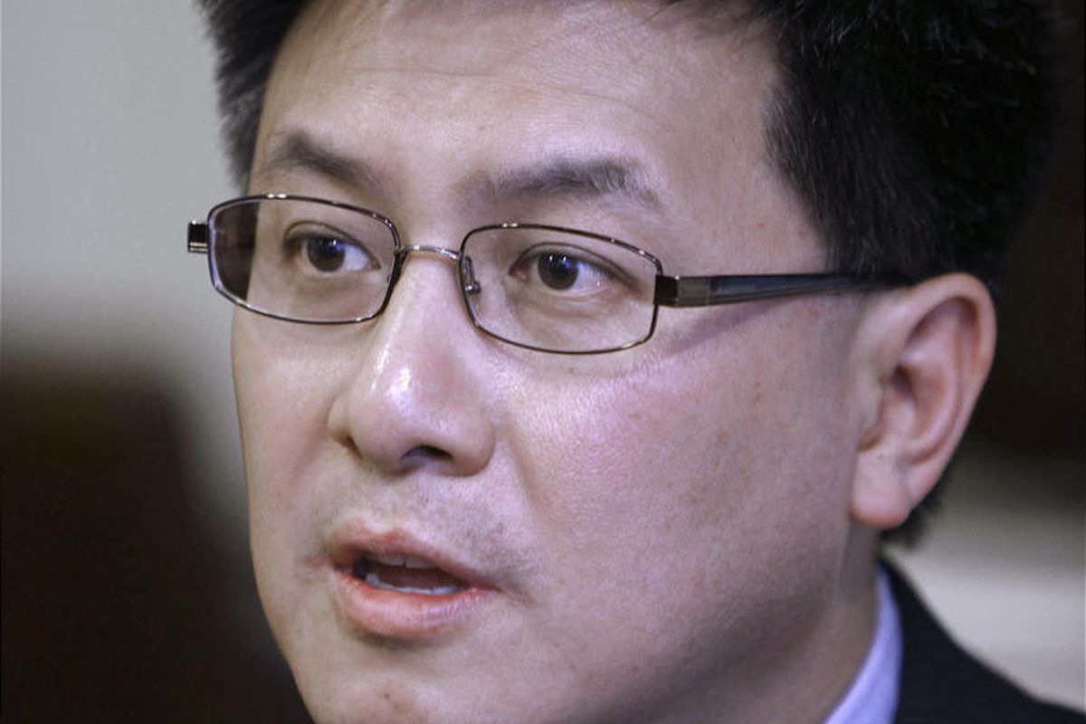 Controller John Chiang discusses his decision to halt paychecks for all 120 state lawmakers after they failed to come up with a balanced budget by the June 15th deadline, during an interview with the Associated Press in Sacramento,  Calif., Tuesday, June