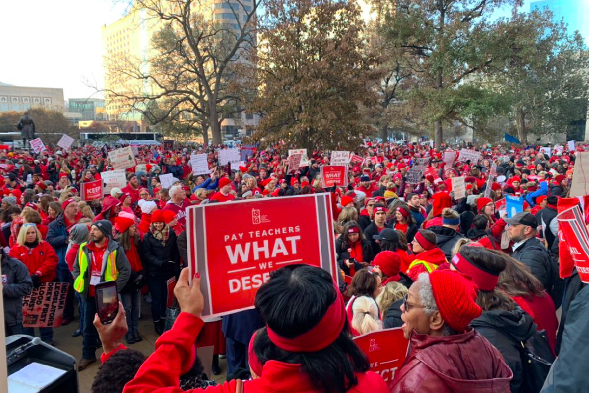 Teachers gather for the Red for Ed rally in Indiana.