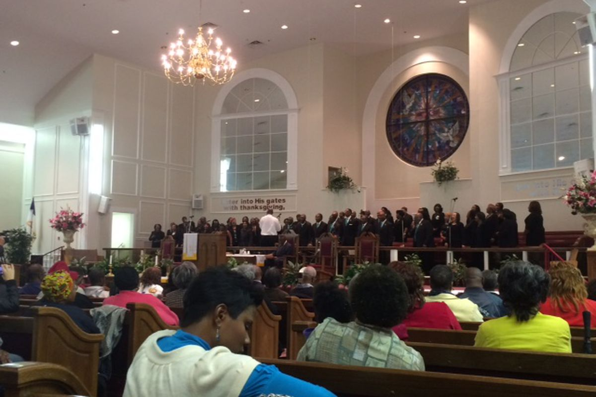 A choir performs during a rally for school vouchers Tuesday at Mt. Moriah Baptist Church.
