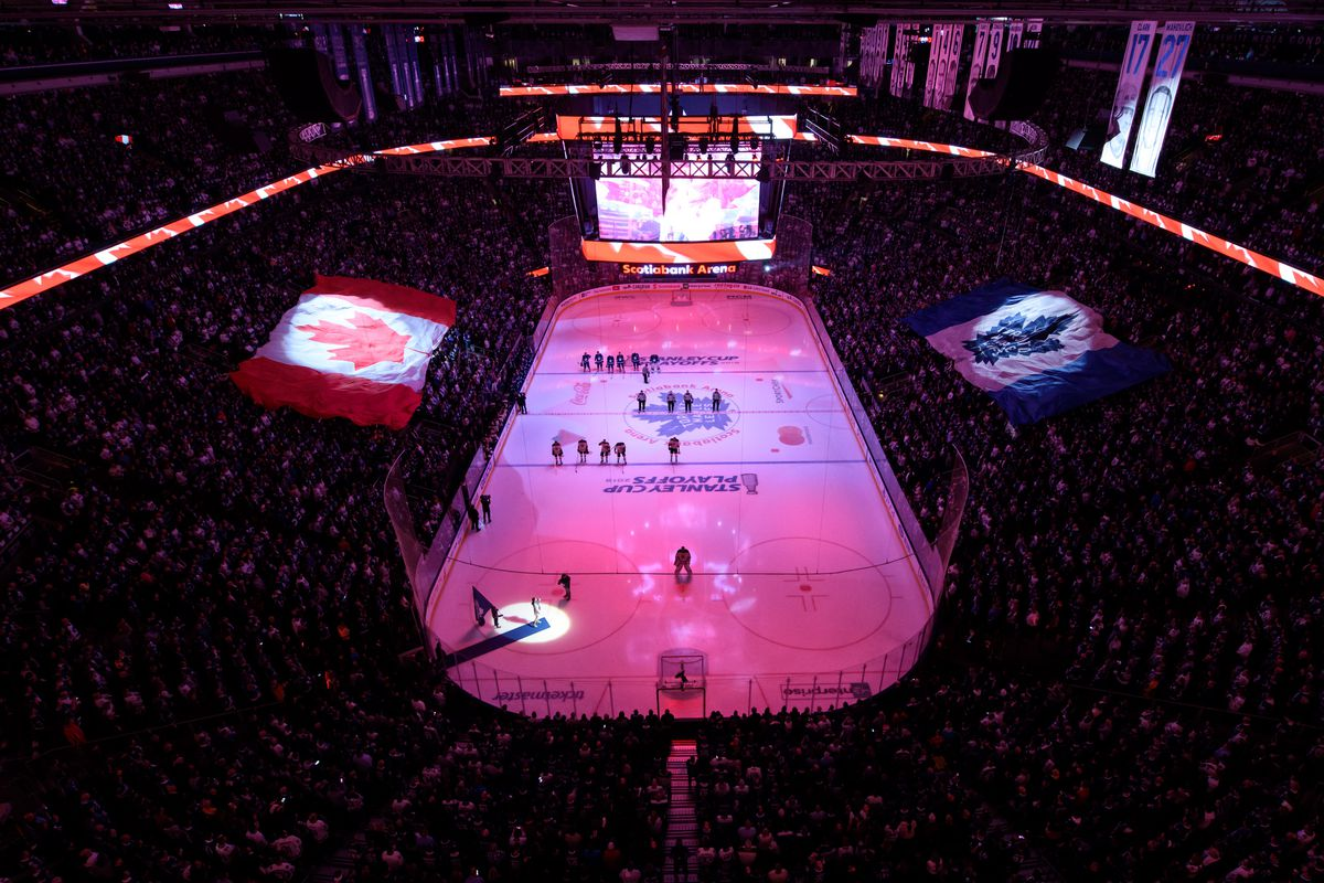 General view of Scotiabank Arena during the Canadian national anthem before Game 6 of the First Round Stanley Cup Playoffs series between the Boston Bruins and the Toronto Maple Leafs on April 21, 2019, at Scotiabank Arena in Toronto, ON.