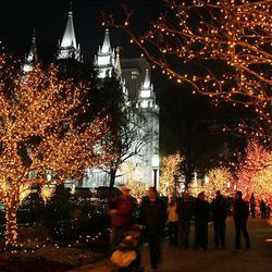 Christmas lights on at Temple Square in November 2009.