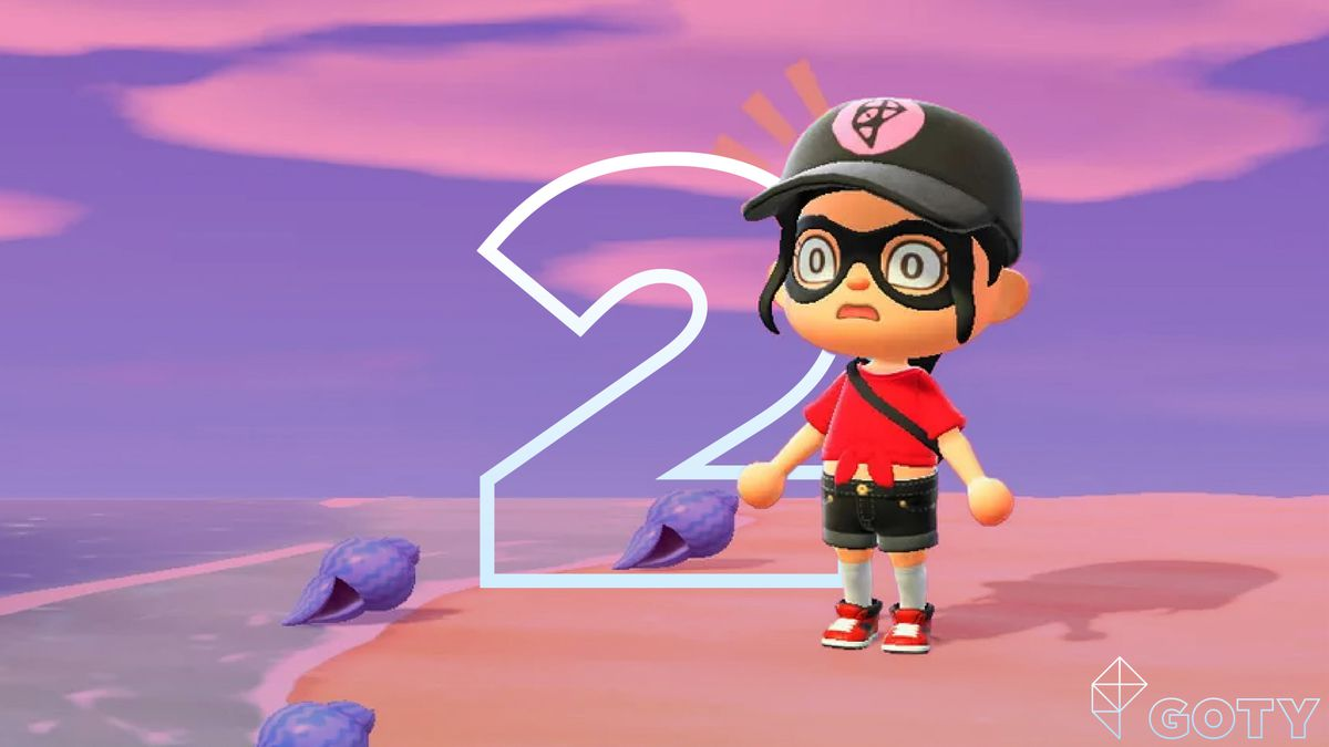 an Animal Crossing New Horizons character wears a delightful Polygon hat, with a stenciled number 2 in the background