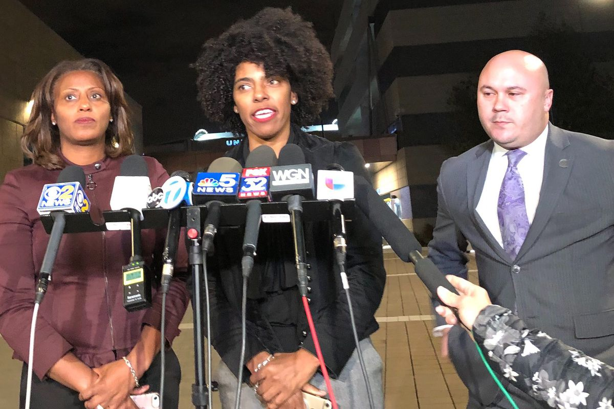 Chicago Public Schools Chief Education Officer LaTanya McDade, left,  Deputy Mayor Sybil Madison, and Chief Operating Officer Arne Rivera talked with reporters about progress in contract bargaining Oct. 24, 2019.