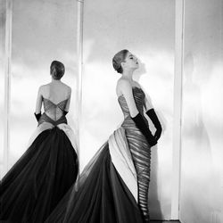 """The """"Butterfly"""" gown on a model, photographed by Cecil Beaton."""