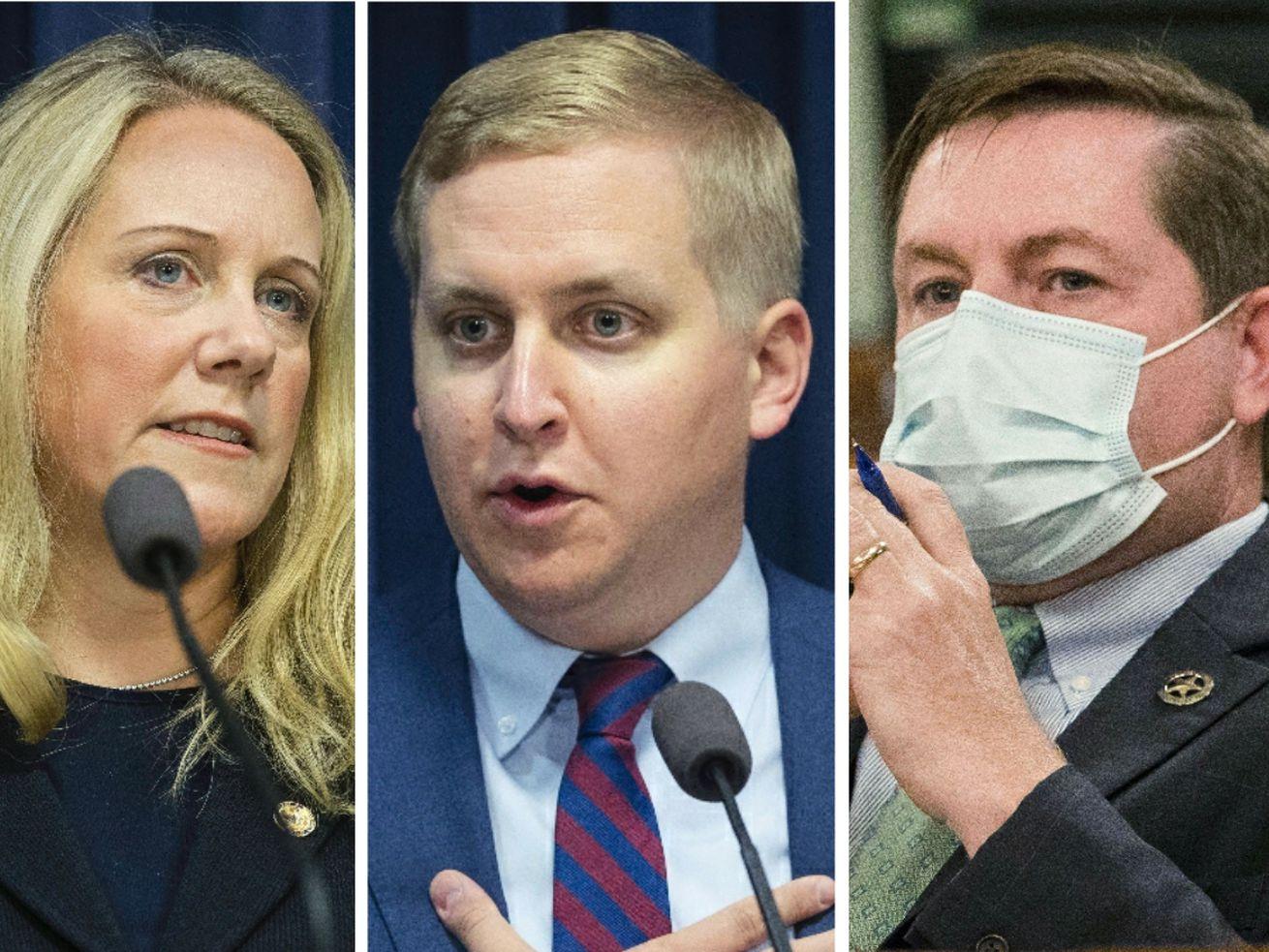 State Rep. Deanne Mazzochi, R-Elmhurst, left; state Rep. Tom Demmer, R-Dixon, center; state Rep. Grant Wehrli, R-Naperville, right.