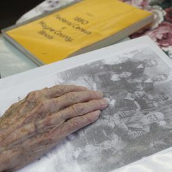 In this March 30, 2012, photo, Verla Morris, who will turn 100 later this year, goes through some of her family census data from the 19th and 20th centuries at her local residential senior center in Chandler, Ariz. When the 1940 census records are released Monday, April 2, Morris will see her own name and details about her life in the records being released after 72 years of confidentiality expires, allowing her to find out more about her family tree.