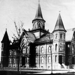 The Provo Tabernacle at about the time of its completion in 1898.