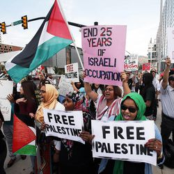 Demonstrators participate in a pro-Palestine rally in Salt Lake City, Thursday, July 31, 2014.