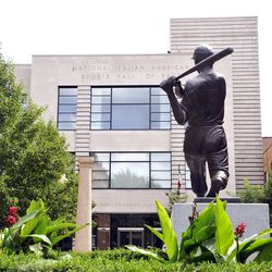 The Joe DiMaggio statue at the Italian American Sports Hall of Fame. | Sun-Times Archives