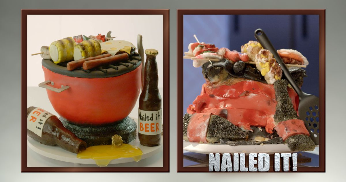 A cake resembling a grill, and a cake resembling a pile of crap.